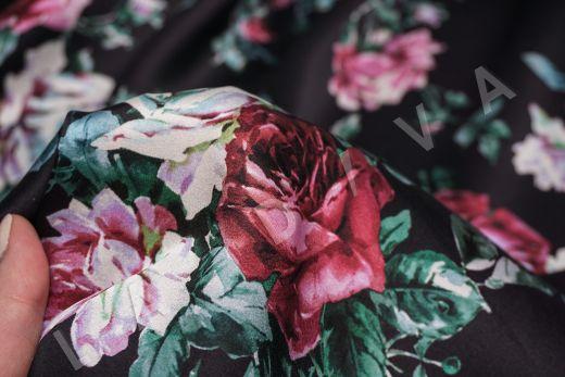 атласный шелк «Розы» на черном фоне рис-6
