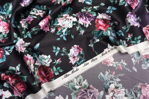 атласный шелк «Розы» на черном фоне рис-7