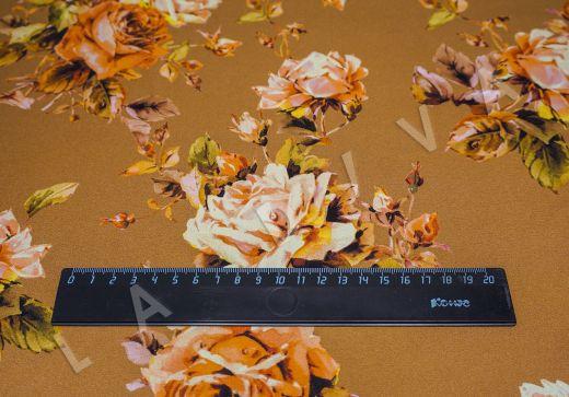атласный шелк «Розы» на терракотовом фоне рис-2
