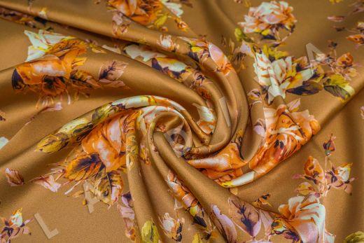 атласный шелк «Розы» на терракотовом фоне рис-4