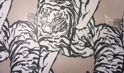 шелковый шифон «Тигры» по мотивам Valentino на бежевом фоне рис-2