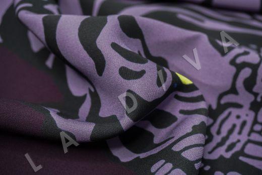вискоза кади «Тигры» по мотивам Valentino на темно-фиолетовом фоне рис-3