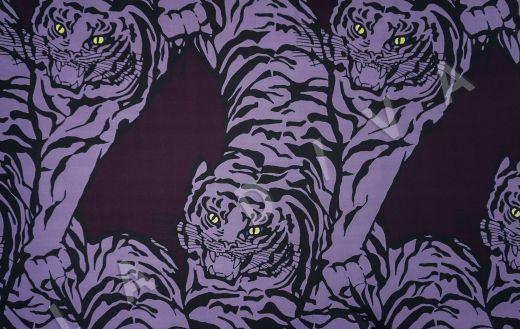 вискоза кади «Тигры» по мотивам Valentino на темно-фиолетовом фоне рис-2