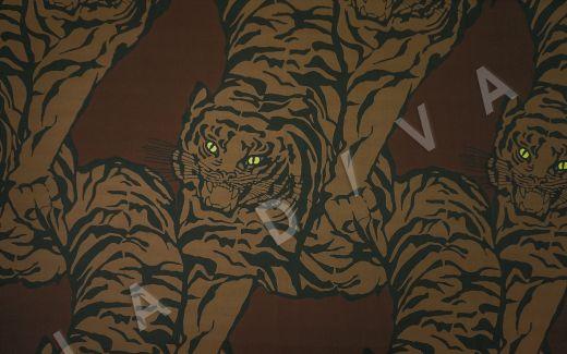 вискоза кади «Тигры» по мотивам Valentino на коричневом фоне рис-2
