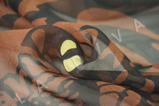 шелковый шифон «Тигры» по мотивам Valentino на коричневом фоне рис-3