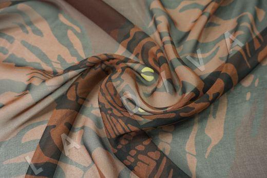 шелковый шифон «Тигры» по мотивам Valentino на коричневом фоне рис-2