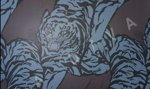 шелковый шифон «Тигры» по мотивам Valentino на кофейном фоне рис-2
