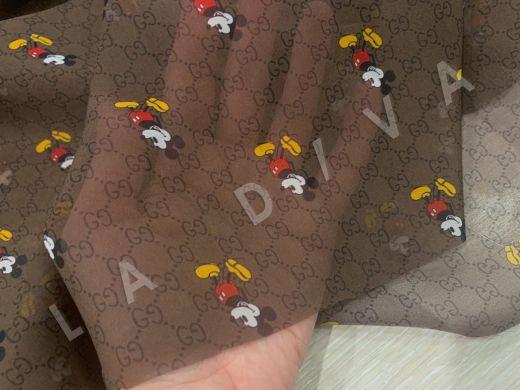шифон Gucci с микки-маусами шоколадного цвета рис-3