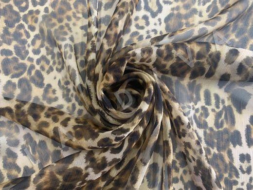 шелковый креш-шифон DG с леопардовым принтом