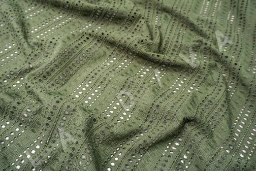 Шитье серо-зеленого цвета с геометрической вышивкой рис-3
